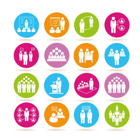business meeting: business conference icons Illustration