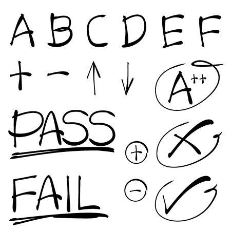 grade: hand drawn grade results Illustration