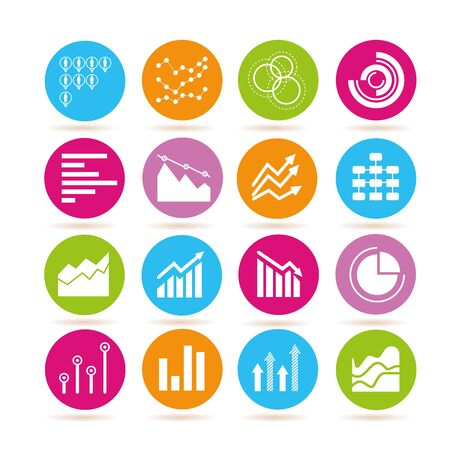 graph, chart data icons