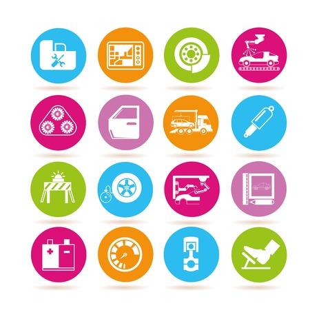 chock: garage icons, automobile icons Illustration