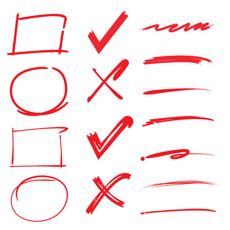 kugelschreiber: Häkchen, Zecken, unterstreicht, Kreise Rechteck Highlighter