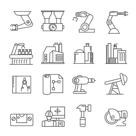 industry icons: production, manufacturing icons