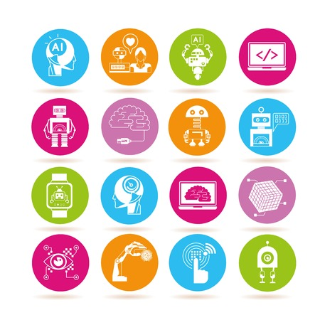 inteligencia: robot, iconos de inteligencia artificial