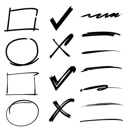check marks, ticks, underlines, brush lines, circles