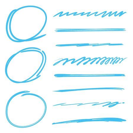 underline: underline, highlighter set, circle highlighter vector