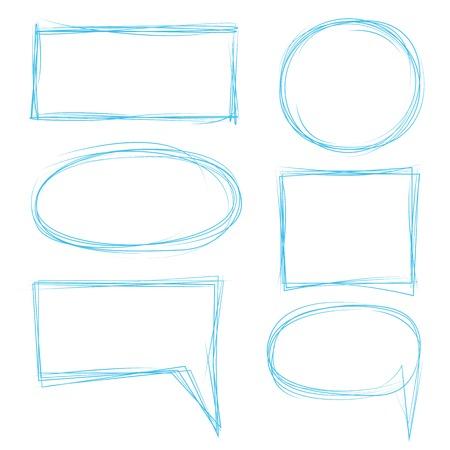 rectangle frame: hand drawn circle, rectangle frame, speech bubble Illustration