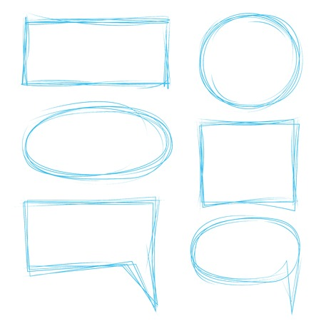 hand drawn circle, rectangle frame, speech bubble Stock Illustratie