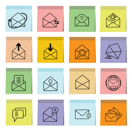 email icons: letter icons, email icons Illustration