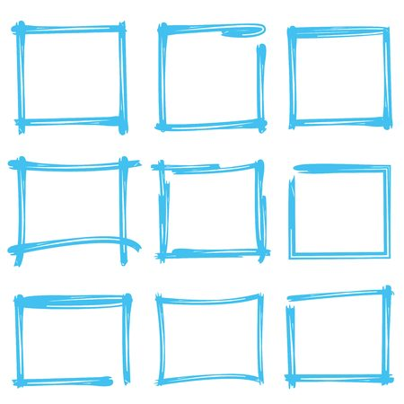 rectangle: blue hand drawn rectangle frames