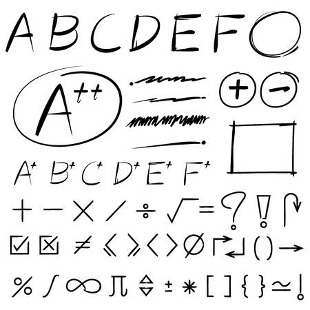 grade: maths sign, grade results Illustration
