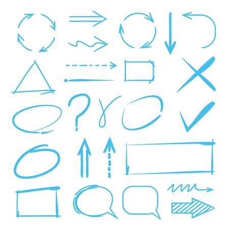 frecce, cerchi, elementi marcatore evidenziatore, bolle di discorso