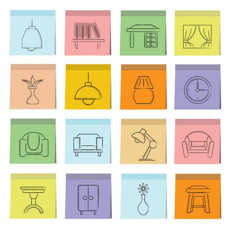 furniture: furniture icons Illustration