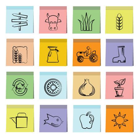 labranza: iconos de granja