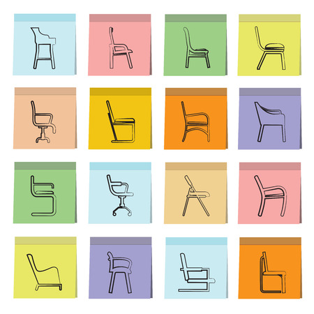 padded stool: chair icons Illustration