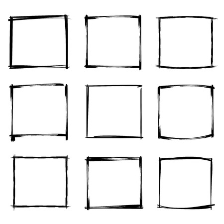 hand drawn frame: black hand drawn frames Illustration
