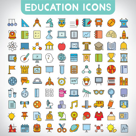 education icons Stock Vector - 58176192