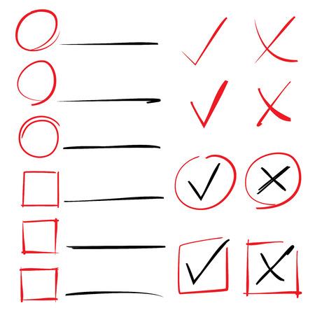 marks: check marks, check lits