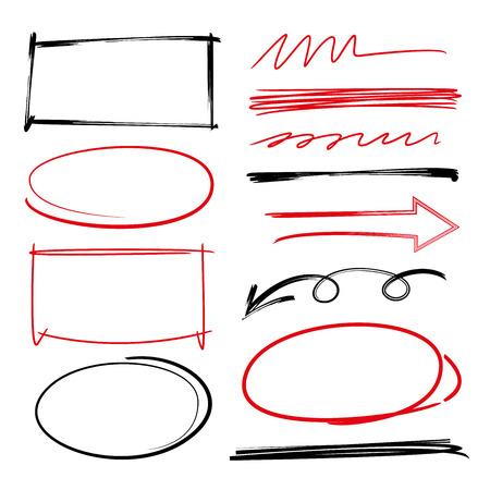 cercle rouge, rectangle, soulignement, flèche Vecteurs