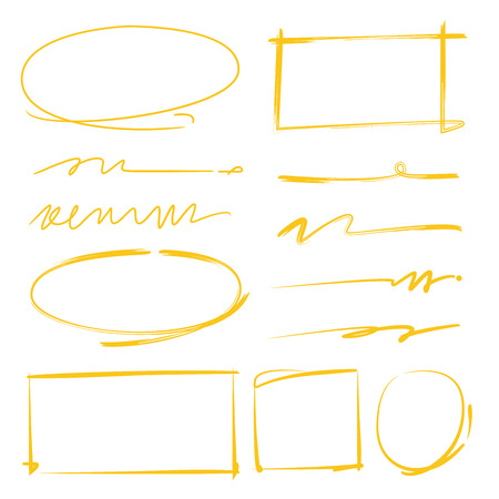 yellow line: hand drawn circle highlighters, rectangle highlighters and underline