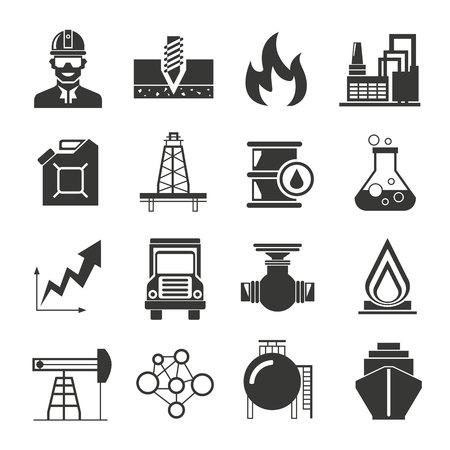 industria quimica: iconos de petróleo y gas Vectores