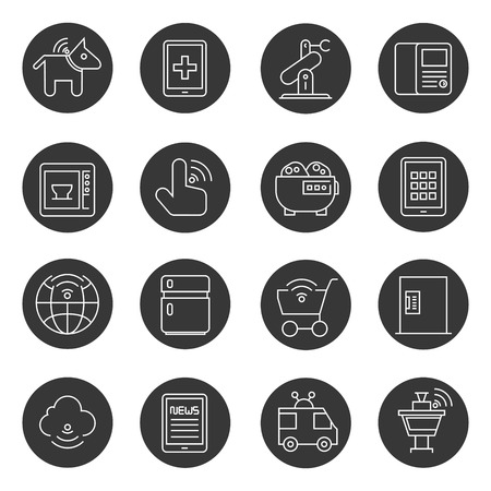 hand cart: internet of things and smart device icons