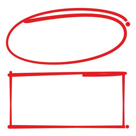手の描かれた空白円と四角形のフレーム