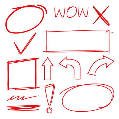 highlight elements, marker set, arrows, check marks