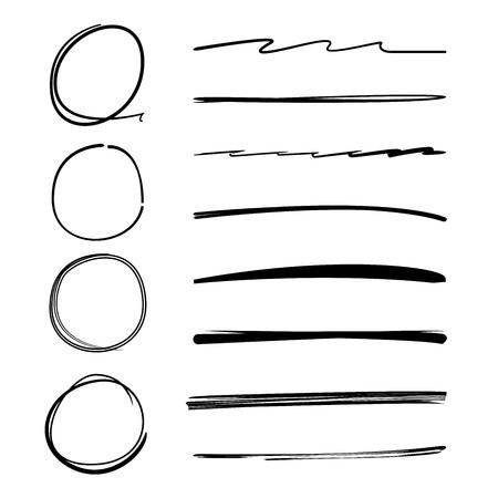 rotulador: dibujado a mano las líneas de pincel y resaltadores círculo