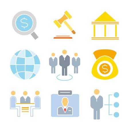 business roles: business management icons Illustration