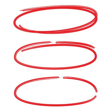 lancetta rossa cerchio disegnato insieme evidenziatore