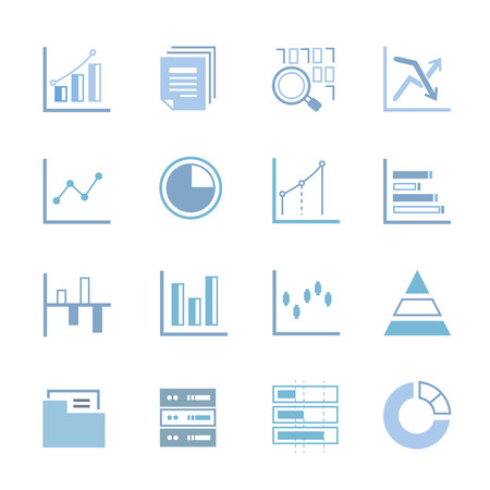 black blue: statistics icons, data analysis icons