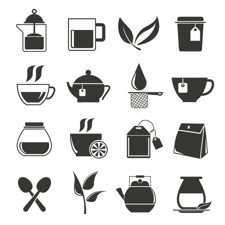 cappuccino cup: tea icons Illustration