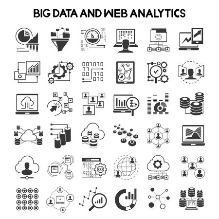 big data icons and data analytics icons Stock Illustratie