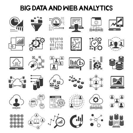 iconos de datos grandes y los iconos de análisis de datos Ilustración de vector