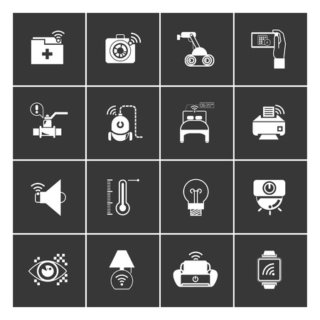 thermostat: internet of things concept and home automation icons