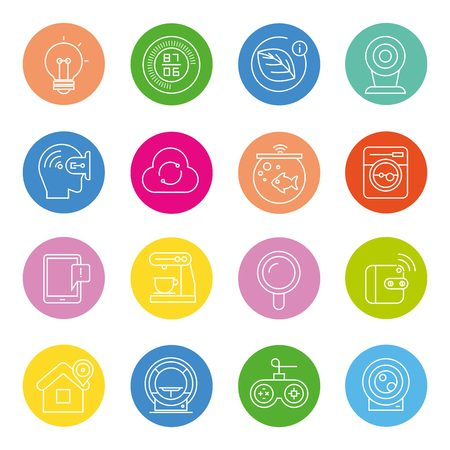 internet of things concept and smart home icons