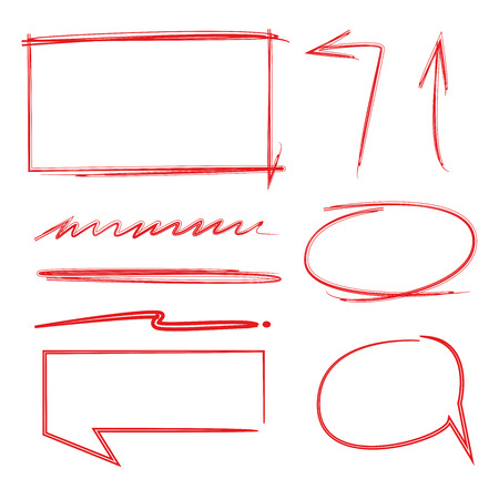 red arrows: red hand drawn arrows and circles Illustration