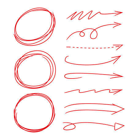 emphasis: hand drawn circle oval markers, arrows Illustration