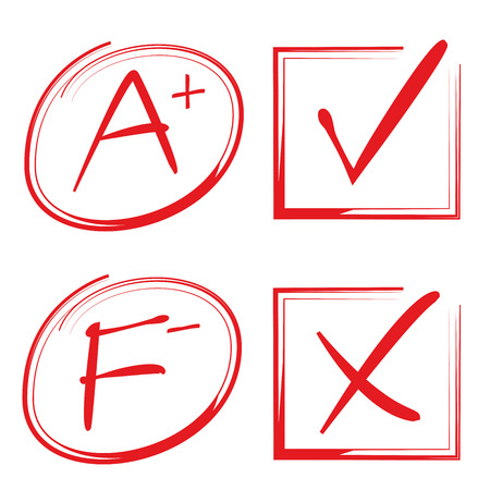 marks: grade results and check marks