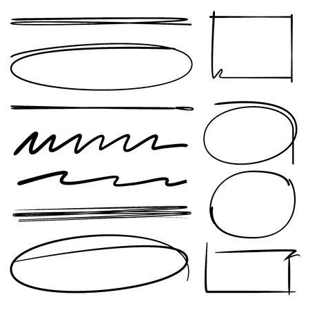 underline: rectangle frames, circle brush line, underline, highlighter set Illustration