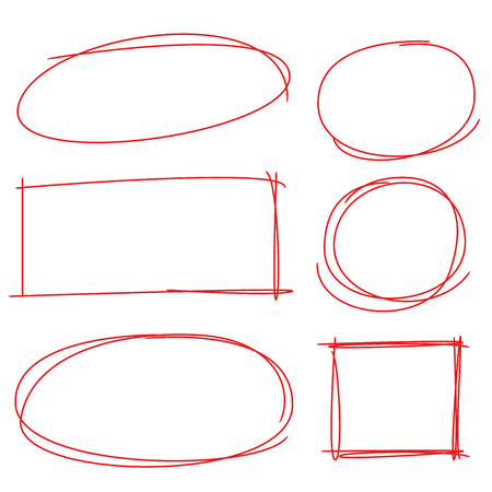 strikethrough: red rectangle and circle marker