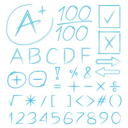 grade: hand drawn math signs, grade results Illustration