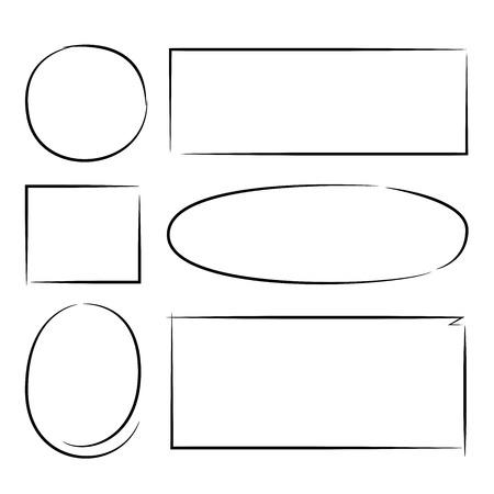 Los marcadores del rectángulo del círculo dibujado a mano, marcos grunge Ilustración de vector