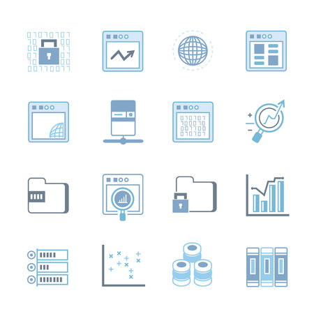 secure files: network and data analytics icons