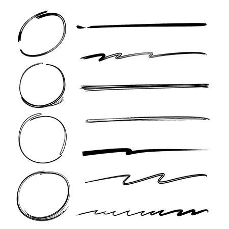 emphasis: hand drawn marker elements, circles, underlines