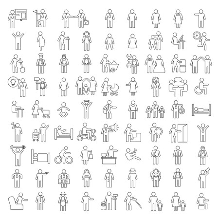people icons, family icons  イラスト・ベクター素材
