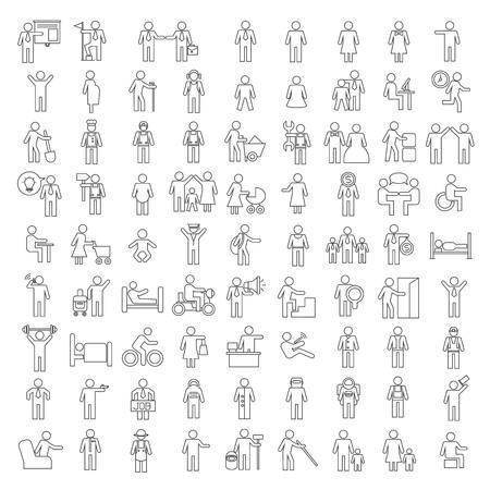 fila de personas: personas iconos, iconos de la familia