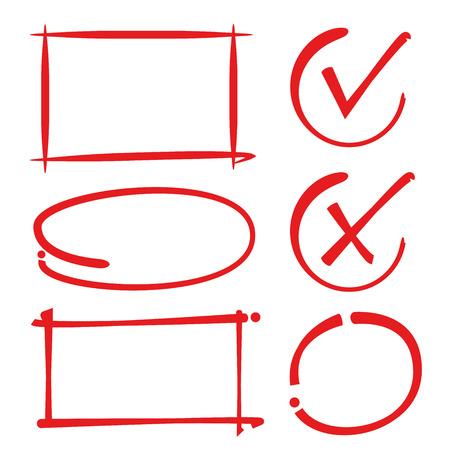 circle frames, rectangle frames, check mark