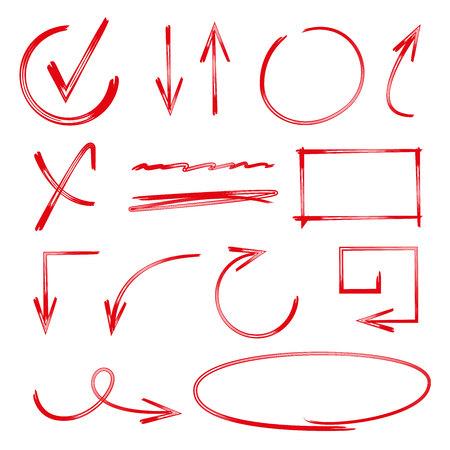marker: marcas de verificación dibujados a mano de color rojo, flechas Vectores