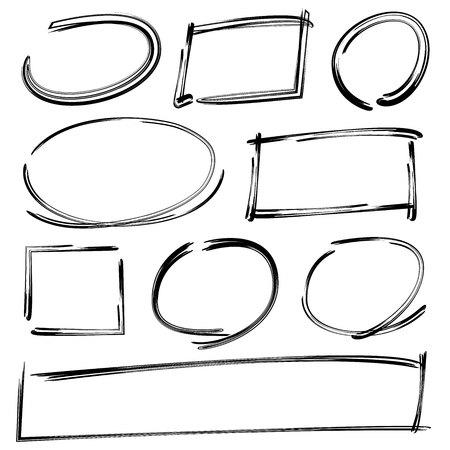 ovalo: dibujado a mano ovalada, marcos de rectángulo, rotulador Vectores